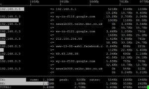 Ejecución de iftop (screenshot de la web oficial)